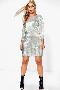 Plus Lizzie Metallic Crinkle Shift Dress
