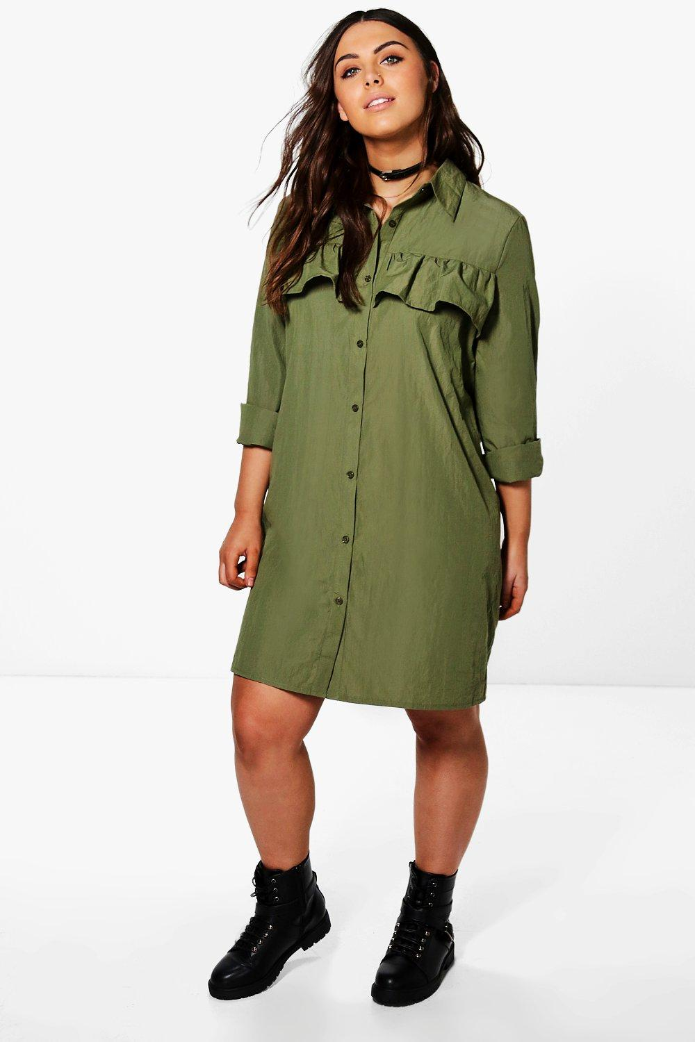 Amerie Ruffle Front Shirt Dress  khaki