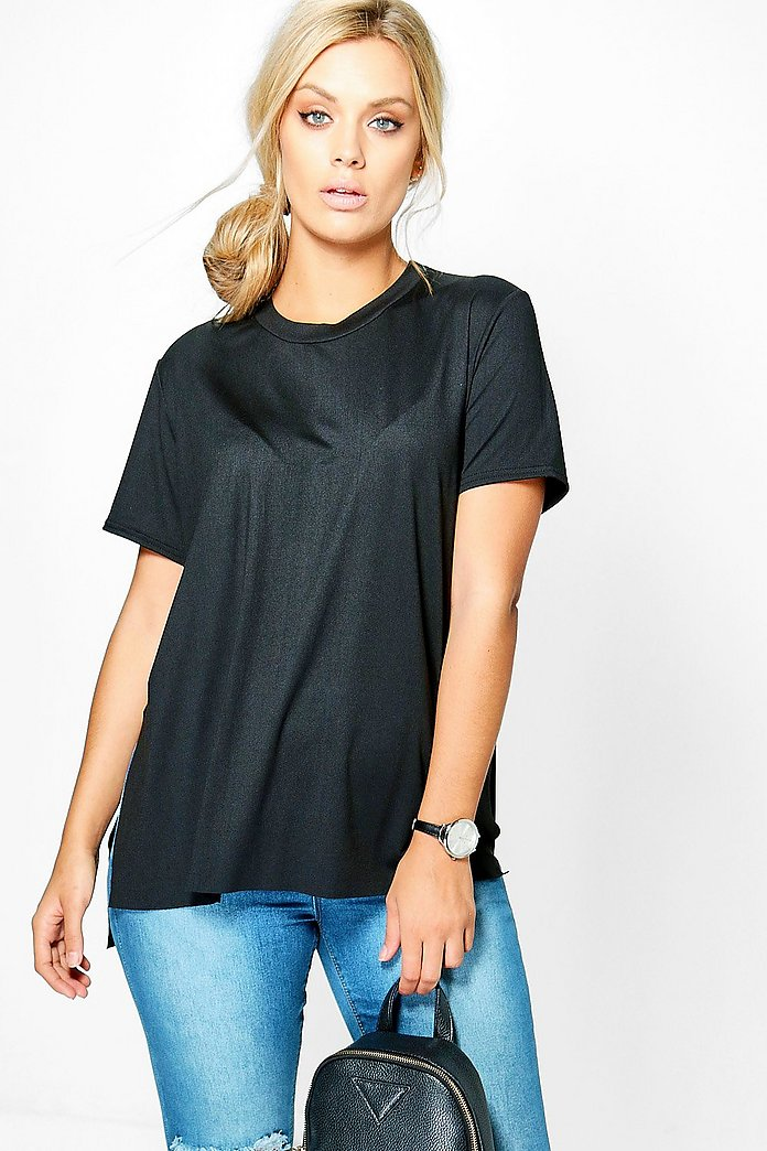 Plus Helen Side Split Oversized Tee