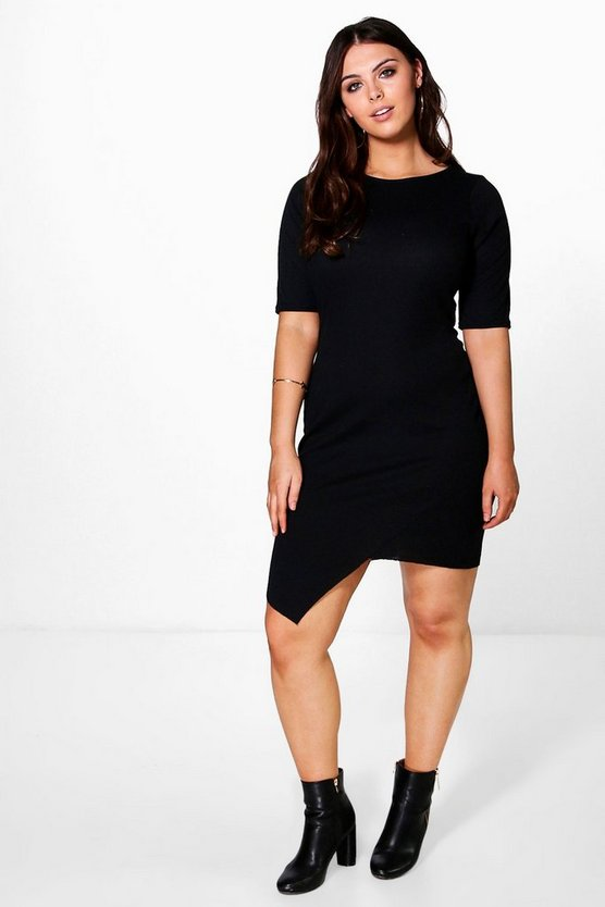 Plus Rhiannon Asymmetric Hem Bodycon Dress
