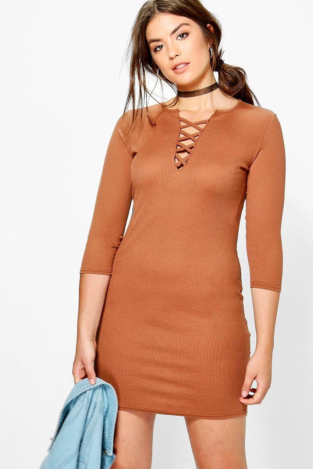 Plus Lucie Lace Up Front Ribbed Swing Dress