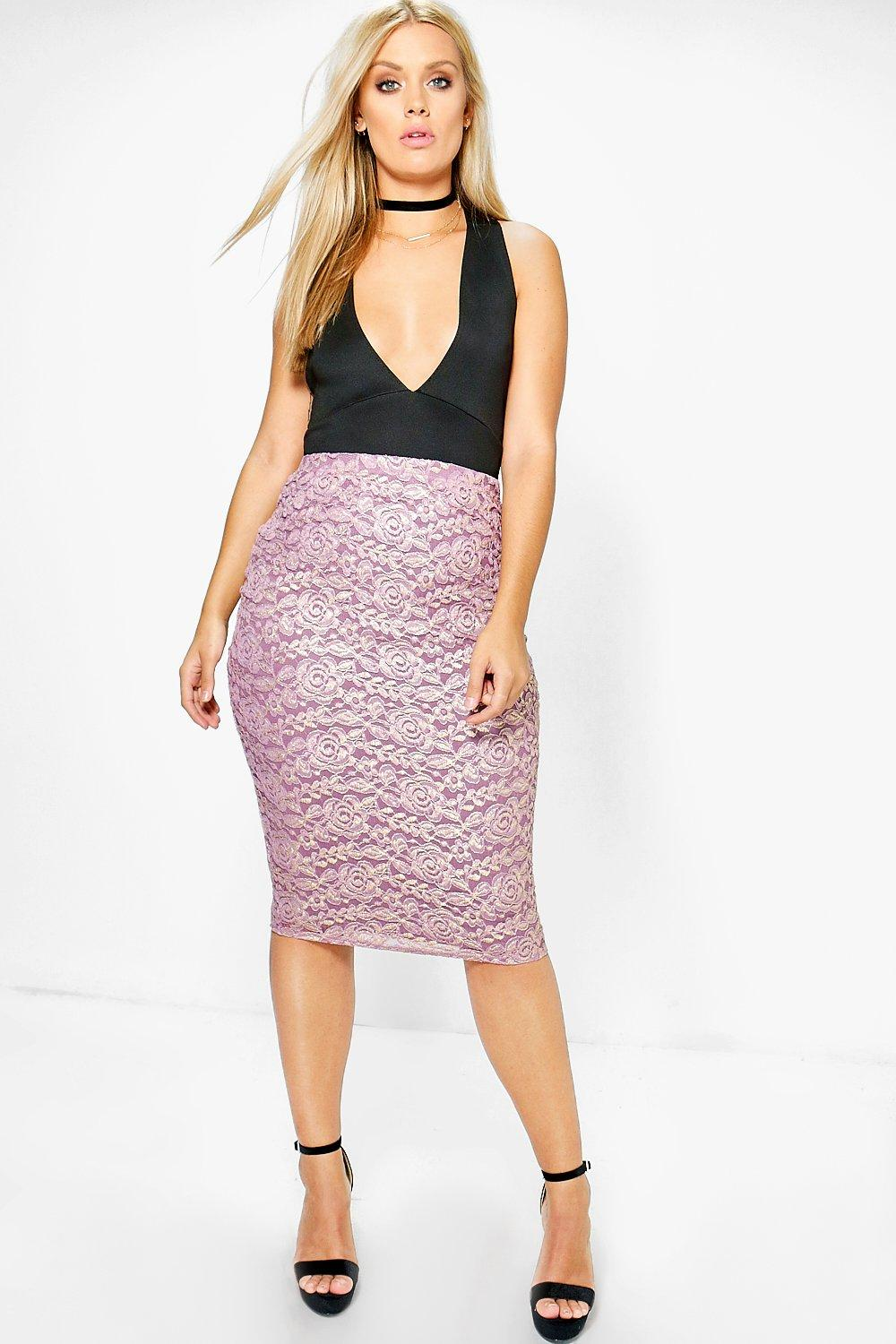 Plus Verity Lace Metallic Midi Skirt