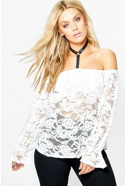 Plus Mel Lace Choker Detail Top
