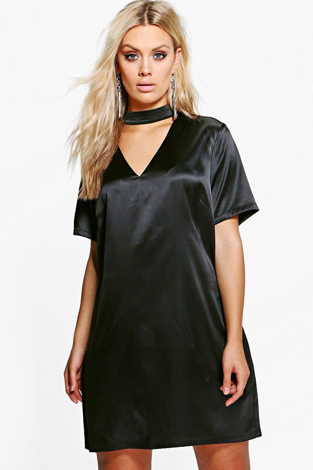 Plus Avery Silky Choker Neck Shift Dress