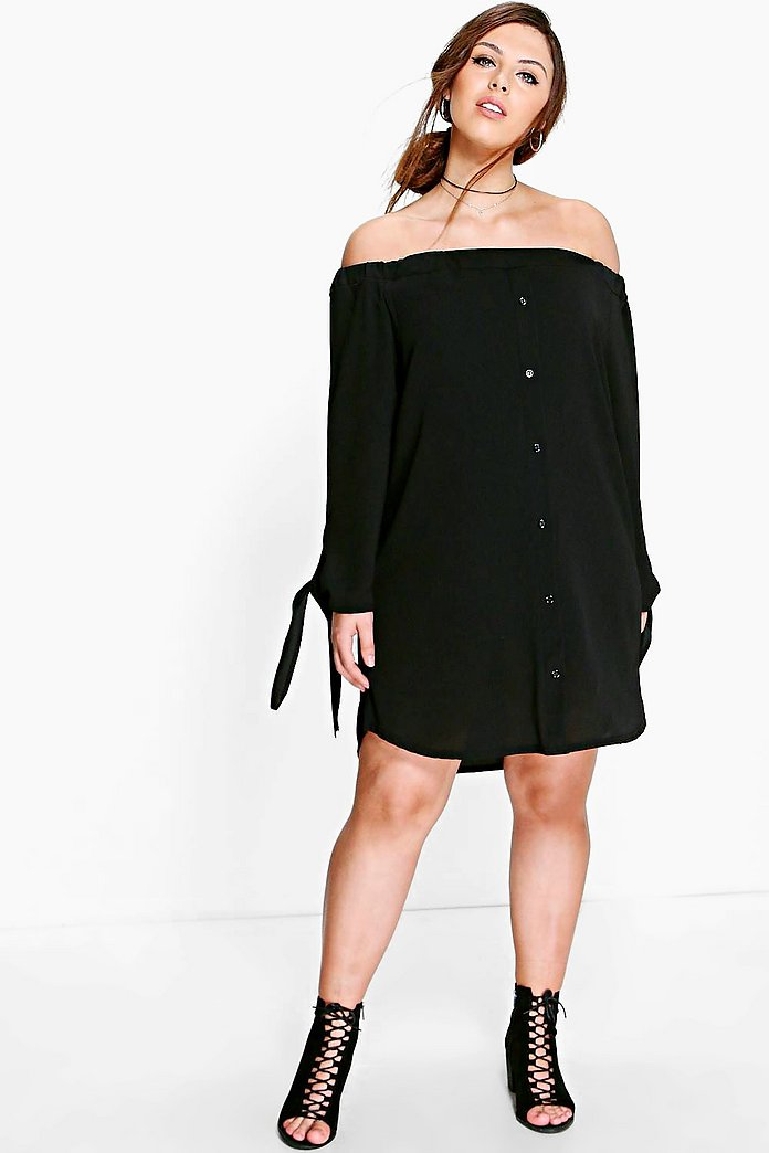 Plus Jade Button Front Bardot Shift Dress