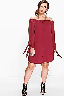 Plus Jade Button Front Bardot Shift Dress