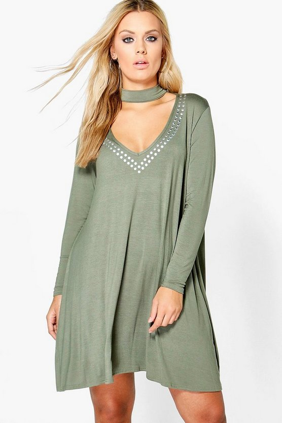 Plus Yazzmin Studded Choker Swing Dress