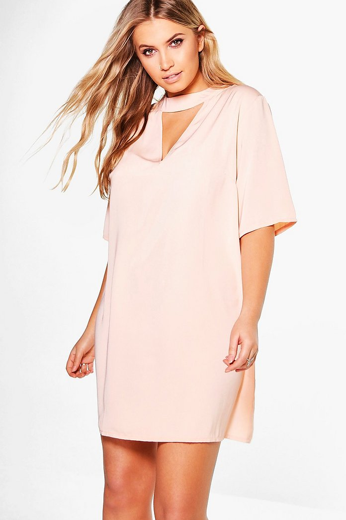Plus Nicole Open Neck Shift Dress