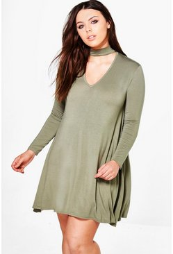 Plus Jinny Choker Detail Swing Dress
