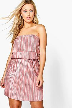 Plus Faye Off The Shoulder Pleated Midi Dress