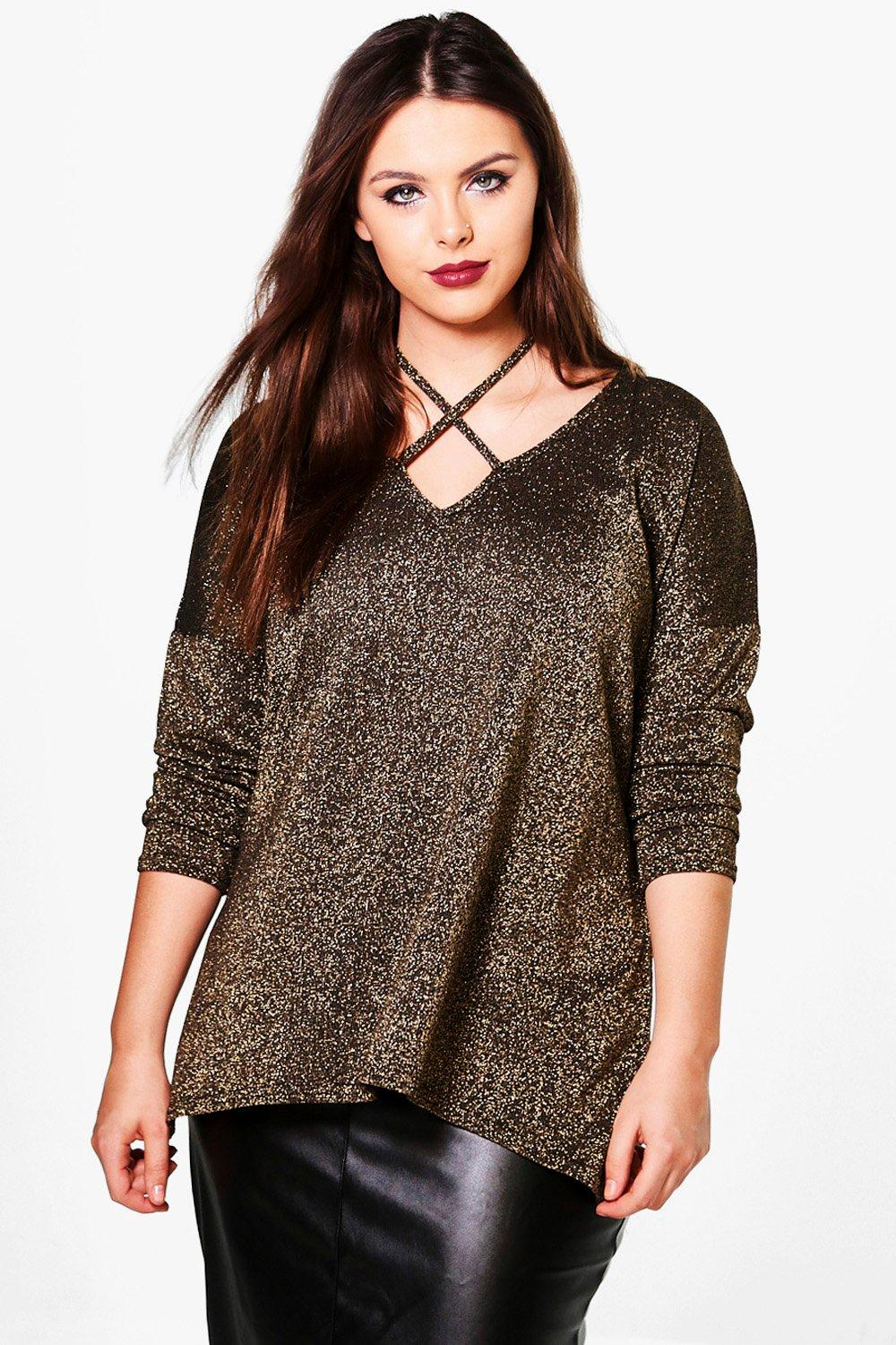 Plus Fran Metallic Strappy Oversized Jumper