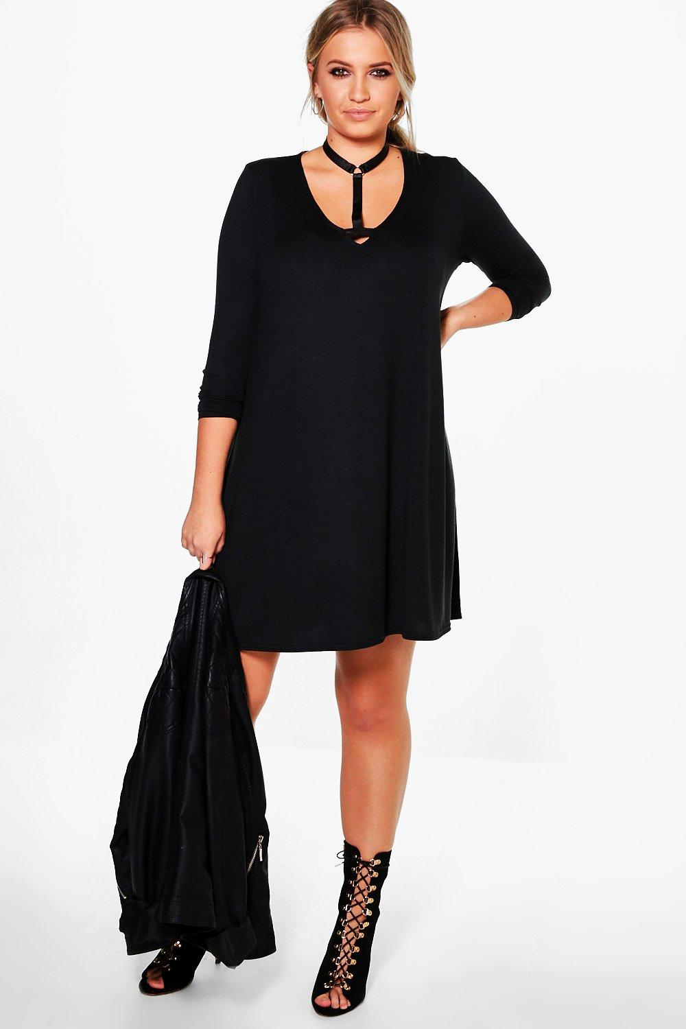 Plus Jess Long Sleeve PU Choker Swing Dress