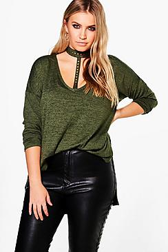 Plus Ellie Studded Choker Side Split Jumper
