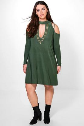 Plus Jessie Studded Swing Dress