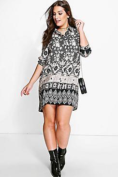 Plus Jules Ethnic Printed Shirt Dress