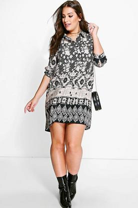 Plus Jules Ethnic Printed Shirt Dress