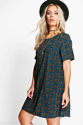 Plus Amber Floral Printed Shift Dress
