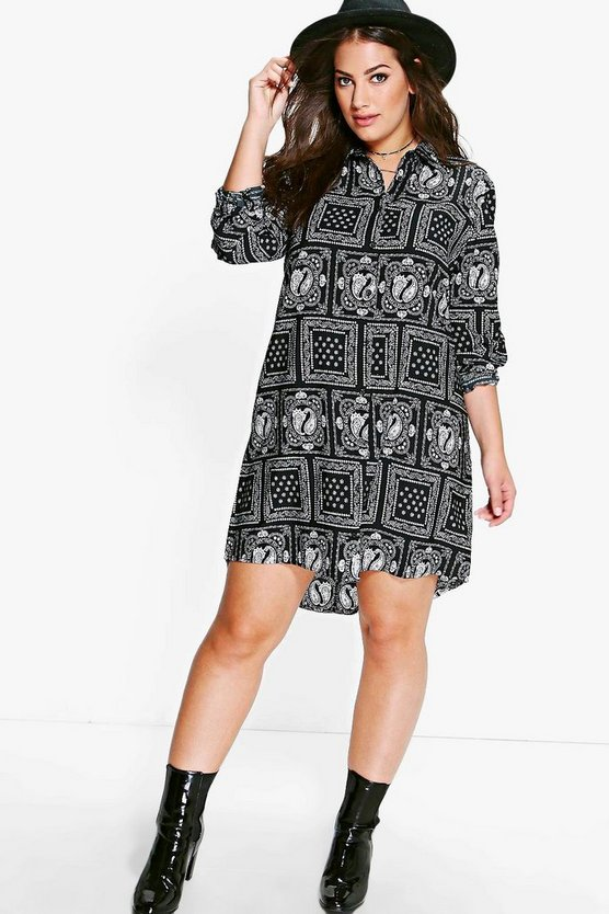 Plus Violet Paisley Printed Shirt Dress
