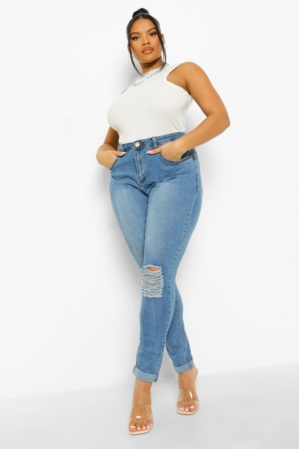 Boohoo Stretch Skinny Jeans With Ripped Knees Clearance Big Discount GR5RVnf9Im