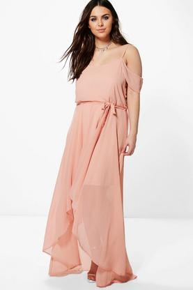 Plus Liz Chiffon Frill Open Shoulder Dress