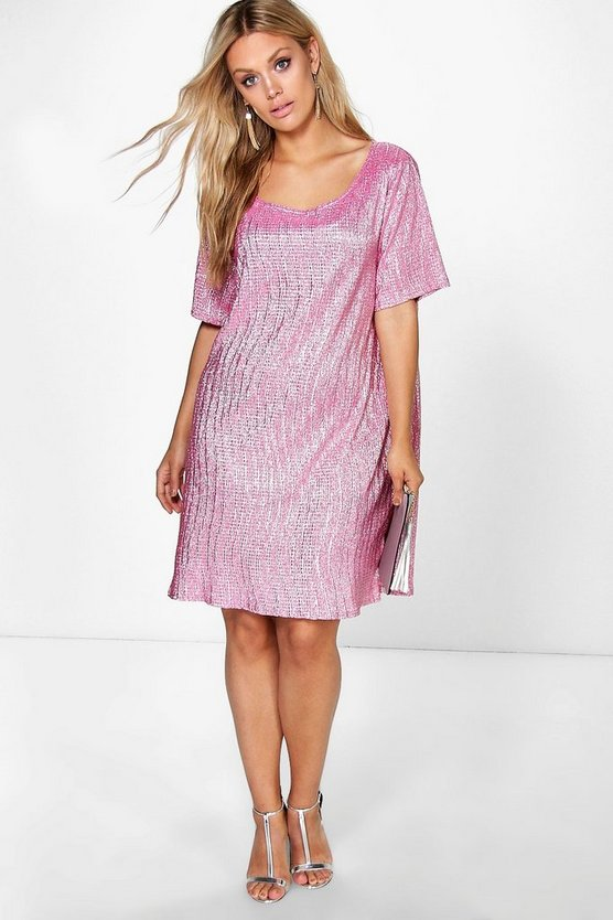 Plus Claire Crinkle Foil Pleat Shift Dress