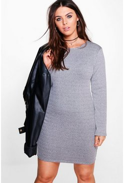 Plus Sarah Ribbed Long Sleeve Bodycon Dress