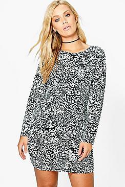 Plus Corinna Mono Long Sleeve Bodycon Dress