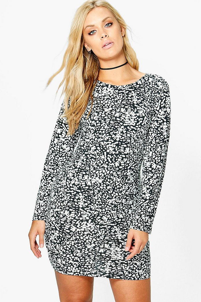 Plus Corinna Mono Long Sleeve Bodycon Dress