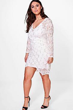 Plus Anna Wrap Lace Sequin Dress