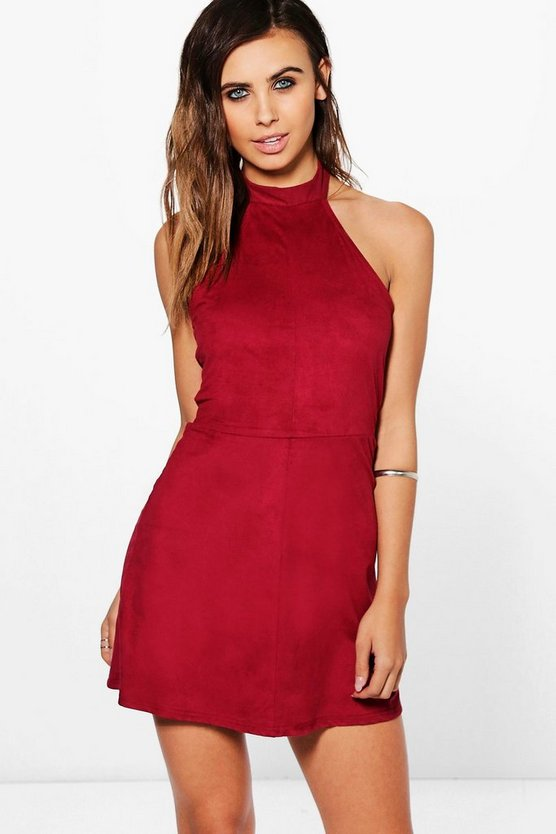 Petite Tamsin Halterneck Suedette Bodycon Dress