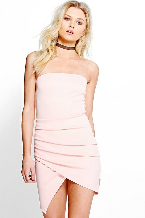 Petite Ruby Ruched Wrap Over Bodycon Dress