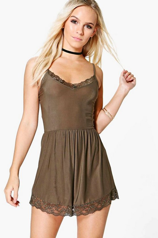 Petite Leah Lace Trim Playsuit