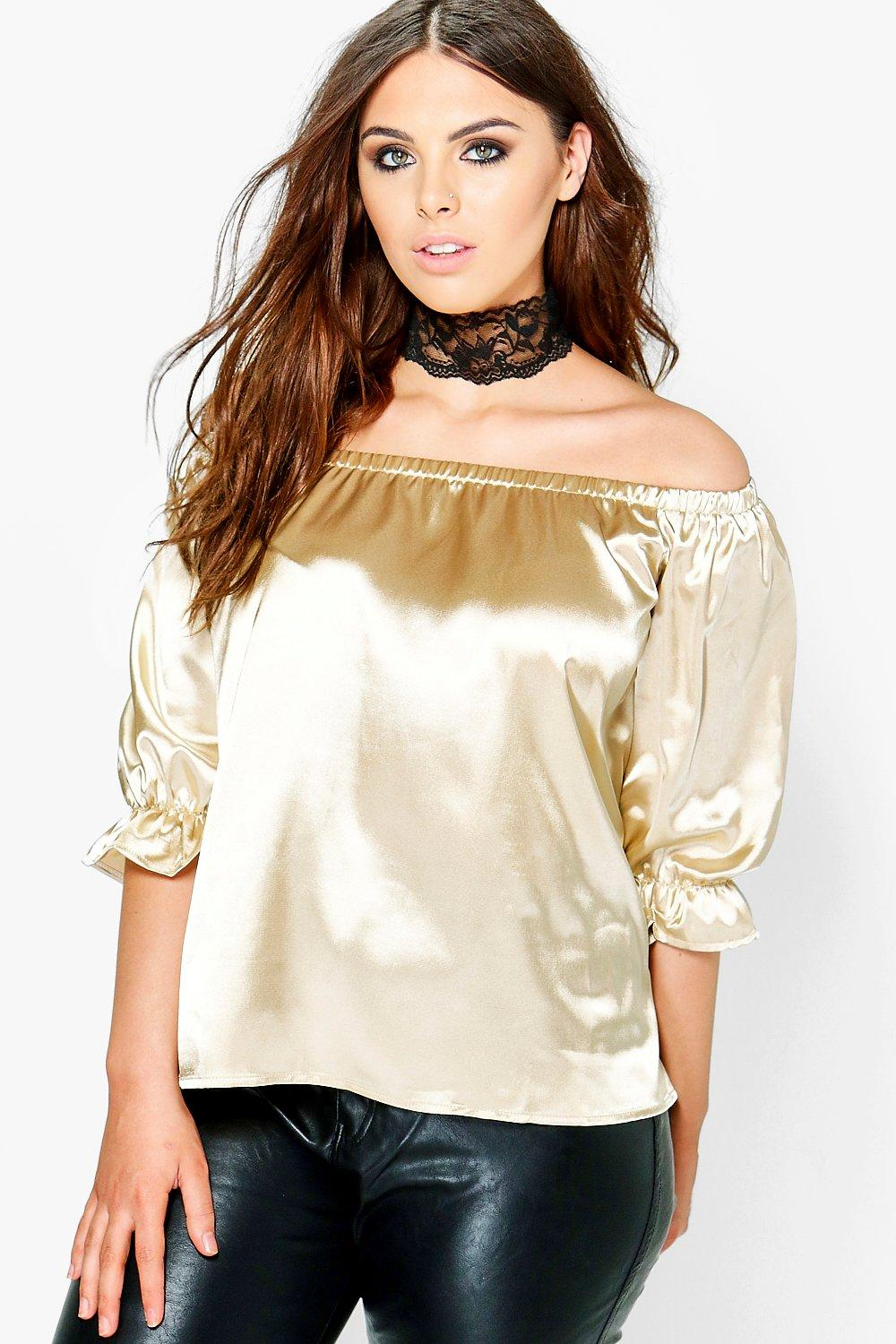 Plus Kate Satin Off The Shoulder Top