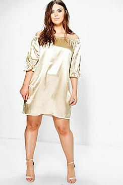 Plus Mia Satin Off The Shoulder Dress!