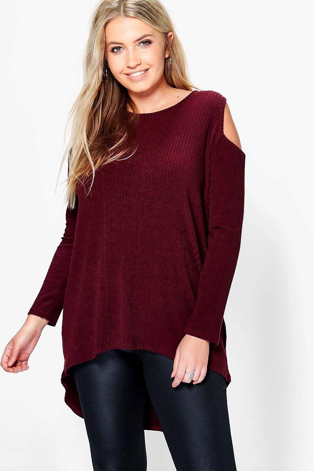 Plus Kim Long Sleeved Open Shoulder Rib Top
