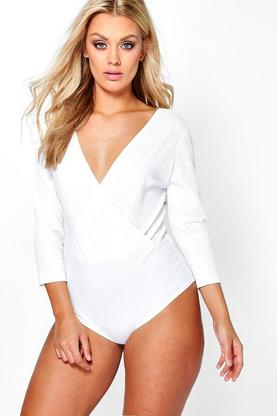Plus Emily 3/4 Sleeve Rib Wrap Bodysuit