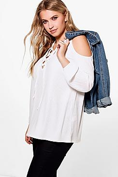Plus Gemma Lace Up Rib Cold Shoulder Knitted Top
