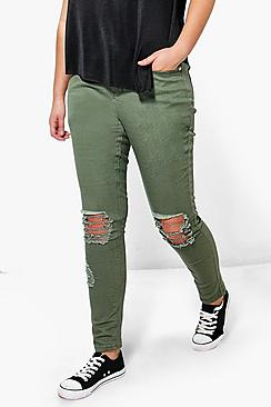 Plus Freya Ripped Knee Stretch Skinny Jean
