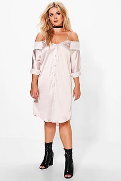 Plus Dottie Cold Shoulder Satin Shirt Dress