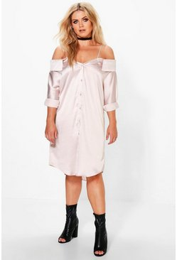 Plus Dottie Cold Shoulder Satin Shirt Dress