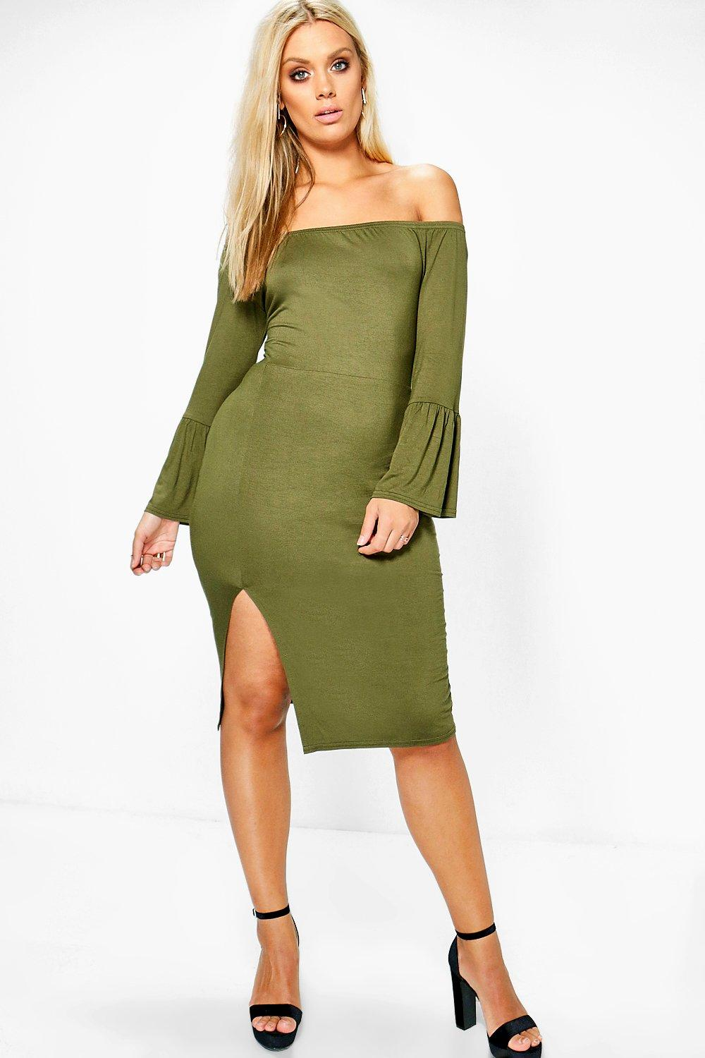 Plus Ellie Off The Shoulder Flared Sleeve Midi Dress