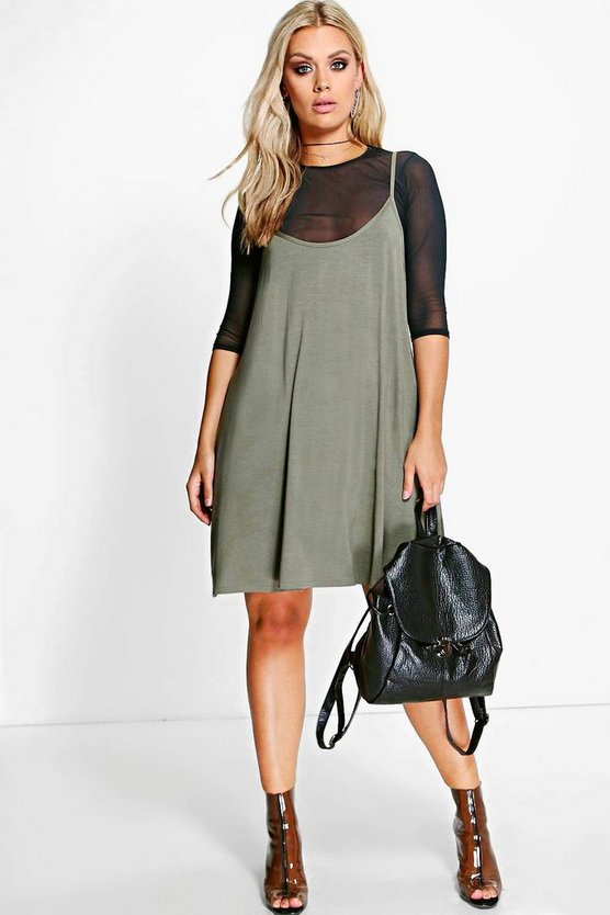 Plus Bethanie Mesh 2 In 1 Cami Dress