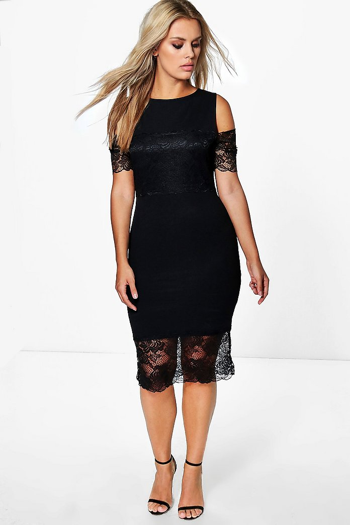 Plus Jenna Lace Detail Bodycon Dress