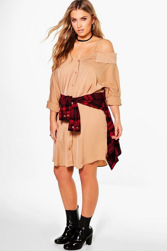 Plus Aimee Cold Shoulder Collar Shirt Dress