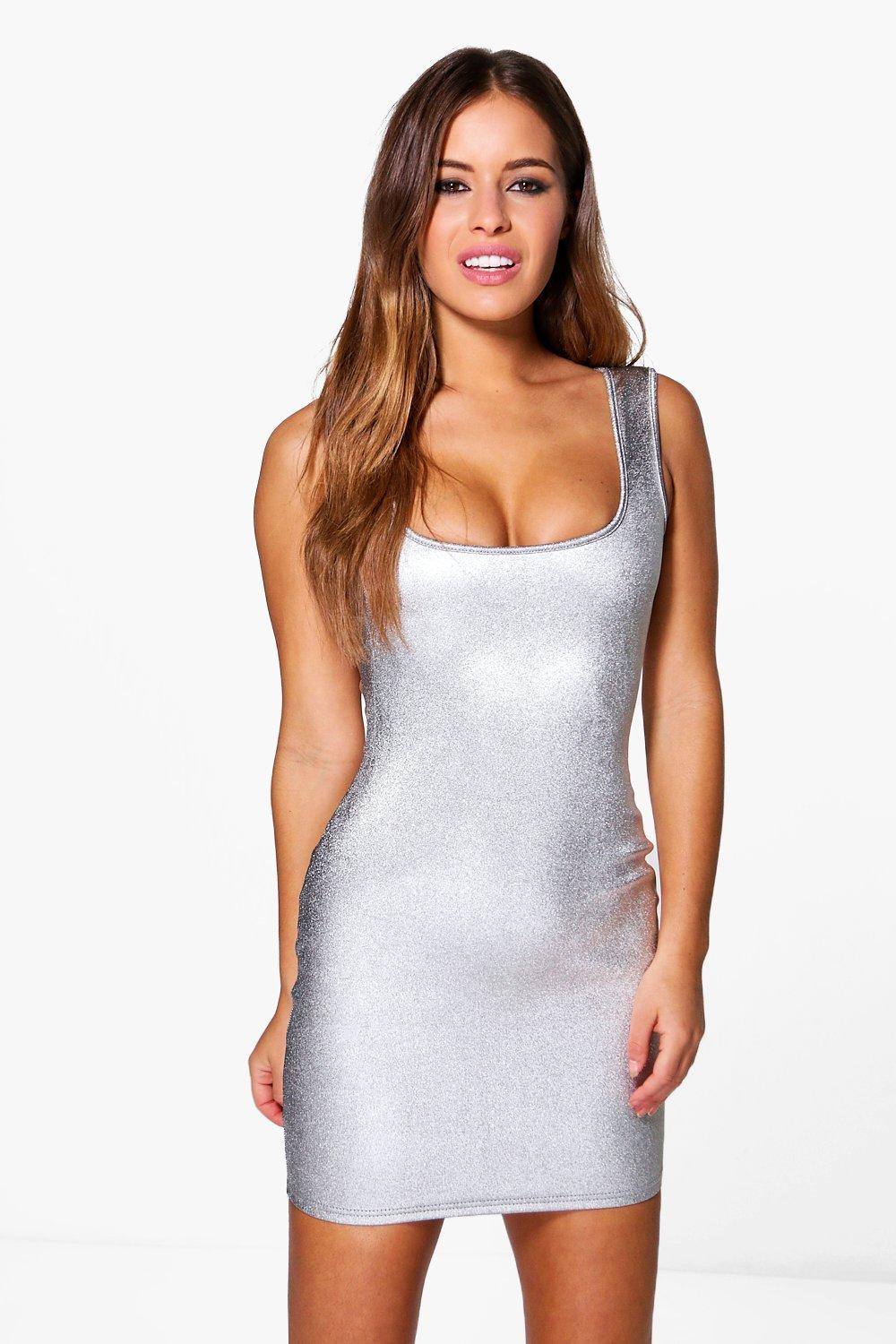 Petite Cassy Square Neck Metallic Bodycon Dress