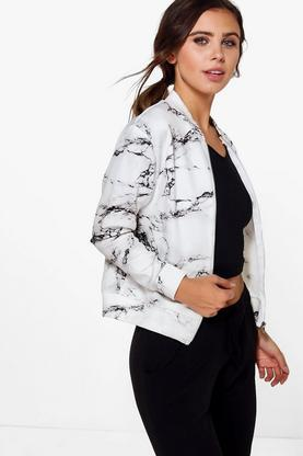 Petite Riley Marble Print Bomber Jacket
