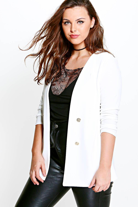 Amber Button Front Blazer - ivory