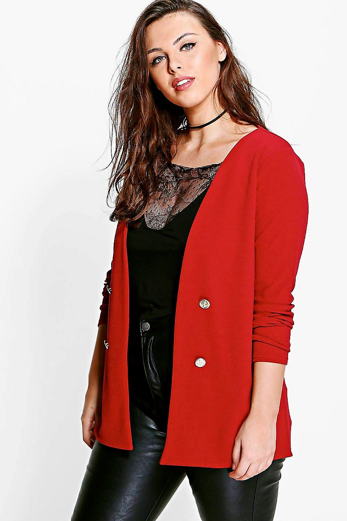 Plus Amber Button Front Blazer