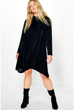Plus Zoey Slinky Roll Neck Swing Dress