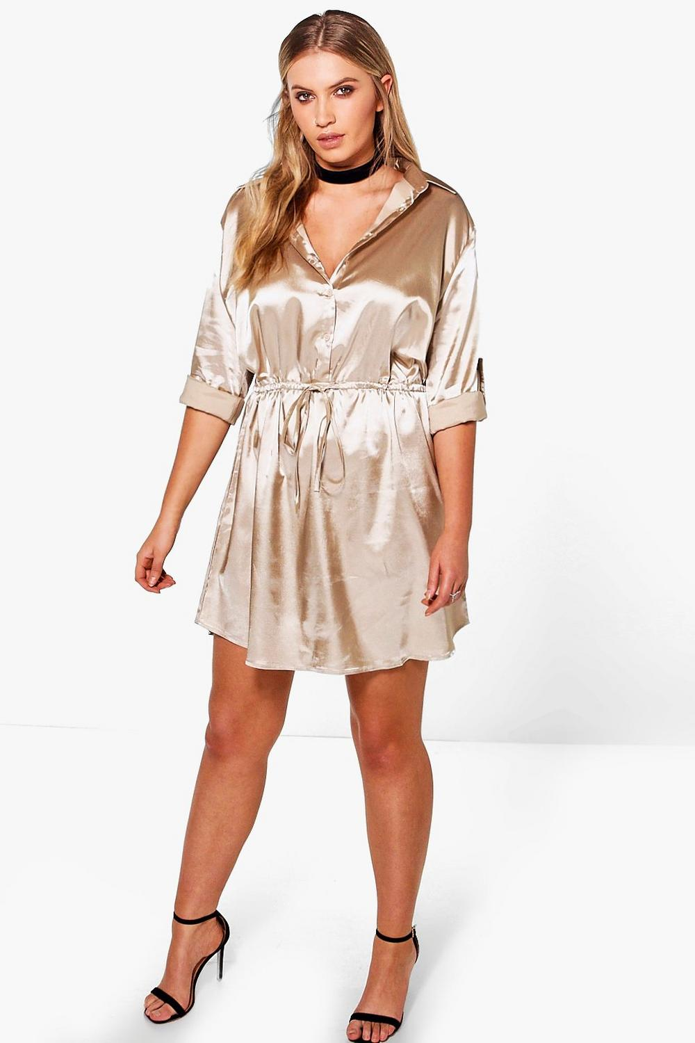 Plus Tara Satin Shirt Dress